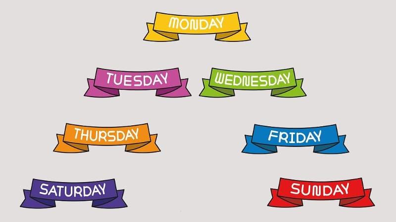 дни недели на английском - иллюстрация